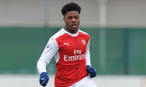 Chuba Akpom in action for Arsenal's Under-23s.