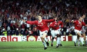 Ole Gunnar Solskjær celebrates scoring the winner against Bayern Munich in 1999.