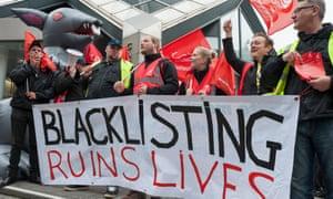 "Unite members protest against alleged blacklisting"" in 2013."