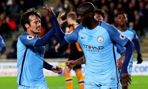 Yaya Touré, right, is congratulated by David Silva after scoring in Manchester City's 3-0 victory over Hull City on Boxing Day