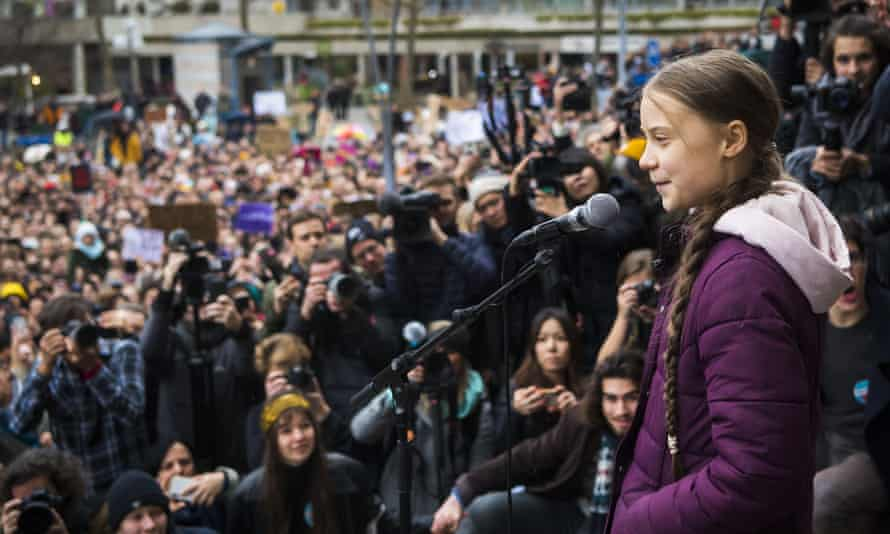 Greta Thunberg delivers a speech after a Fridays for Future climate protest in Lausanne, Switzerland, January 2020.