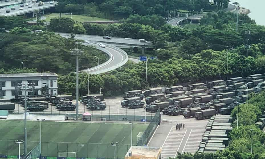 Trucks and armoured personnel carriers in Shenzhen