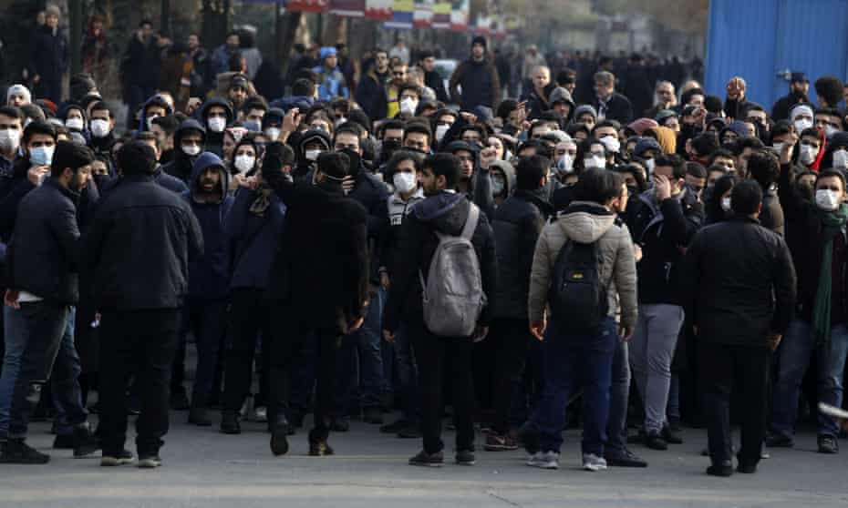 Protesters in Tehran attend a demonstration blaming the government for the delayed announcement of the unintentional downing of the Ukrainian plane.