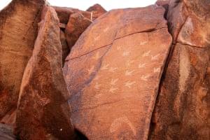 Emu tracks rock art at Deep Gorge, a sacred men's site.