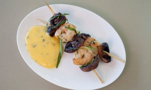 'Oi, the food is awful, and the portions, so small': prawn and mushroom skewers.