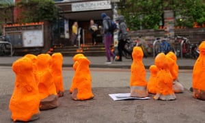 An art project saw orange figurines appear outside Hamilton House in Stokes Croft