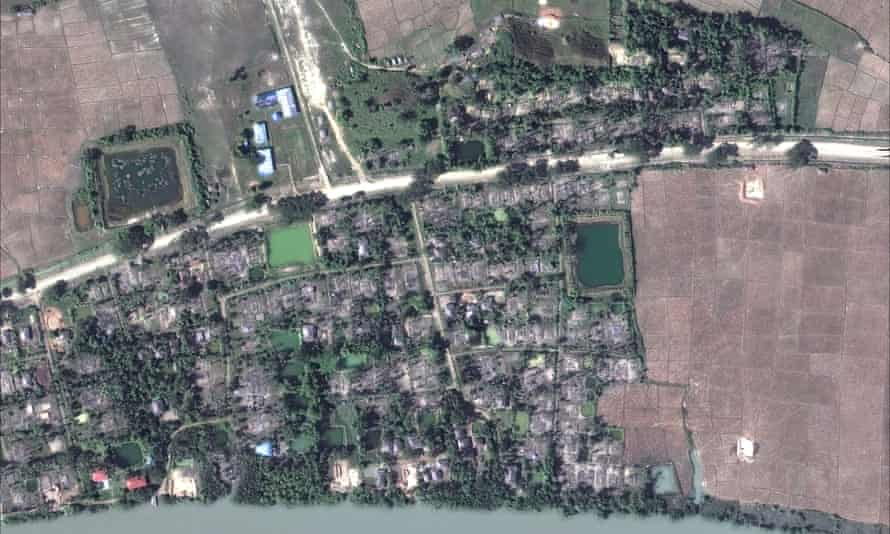 An aerial overview of the village of Gu Dar Pyin, Myanmar