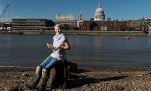 """Lara Maiklem, who has written a piece for us about all the historical objects she has discovered on the Thames foreshore over 20 years of """"mudlarking"""""""