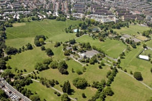 An aerial view of Brockwell Park.