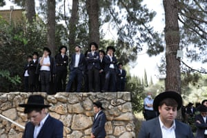 Ultra-Orthodox mourners during the funeral of Daniel Ambon from Argentina who died in a stampede during Bonfires on Lag Ba'Omer in Mount Meron.