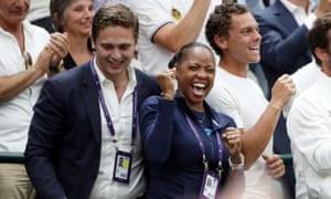Cori Gauff's mother Candi Gauff celebrates her daughter's win.