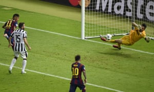 Neymar heads the ball goal-wards via his elbow ...
