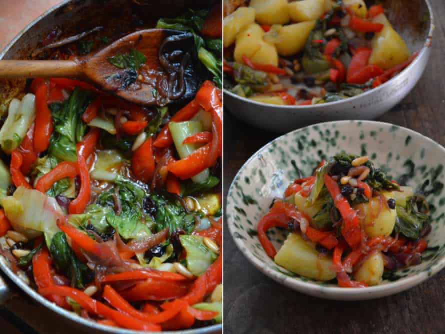 Rachel Roddy's sweet and sour peppers with potatoes.