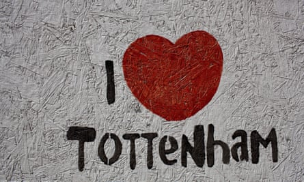 'I Love Tottenham' stencilled on Tottenham town hall after the 2013 riots.
