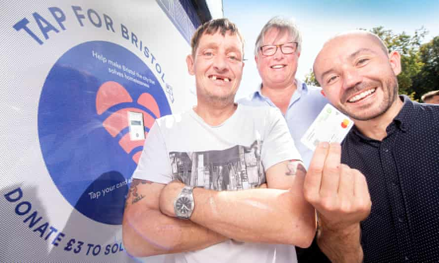 Paul Blake, Keith Rundle and Ben Richardson with one of the TAP for Bristol card readers