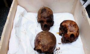 Skulls of the three decomposed mummies