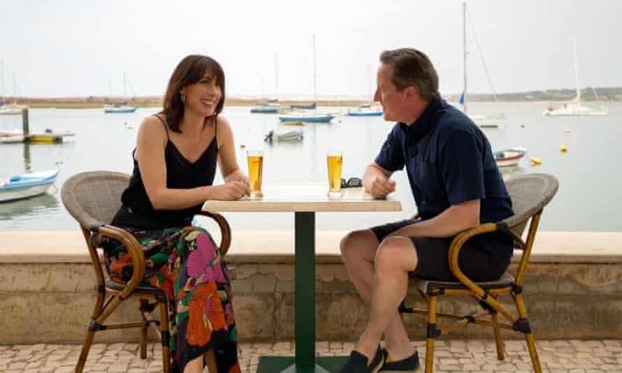 David and Samantha Cameron enjoy a drink in Alvor, Portugal.