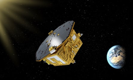 An artist's impression of the LISA Pathfinder spacecraft.