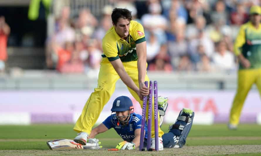 James Taylor goes full length to make his ground and bring up his century for England, despite the best efforts of Australia's Pat Cummins at Old Trafford.