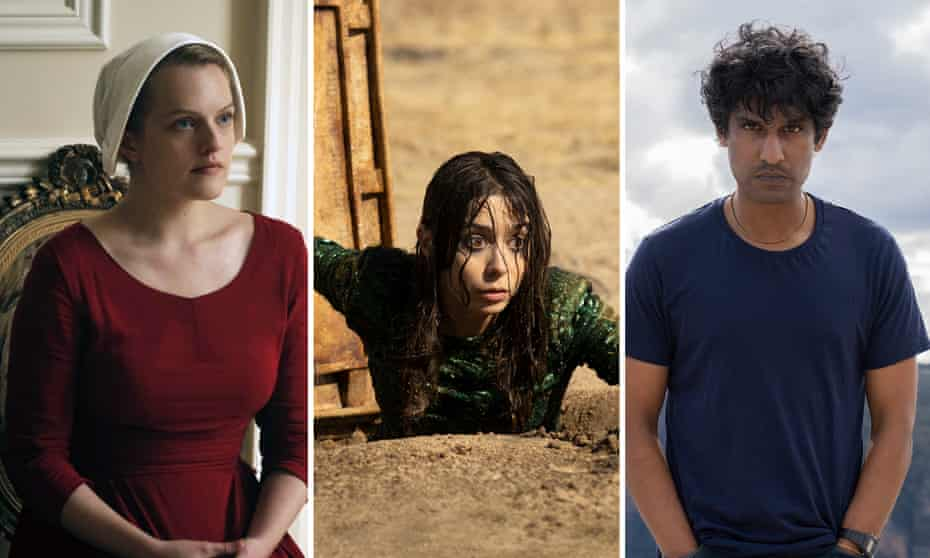 Elisabeth Moss in The Handmaid's Tale, Cristin Milioti in Made for Love and Rudi Dharmalingam in Wakefield.