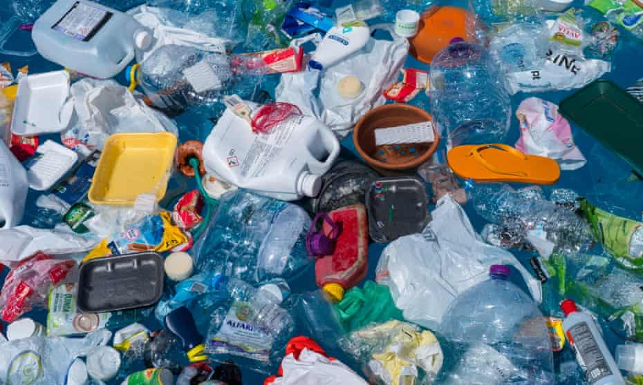 Plastic rubbish floating in the ocean.