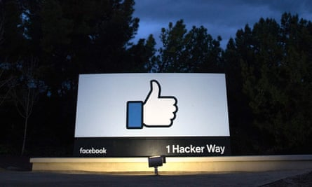 Sign at entrance to Facebook's corporate headquarters in Menlo Park, California