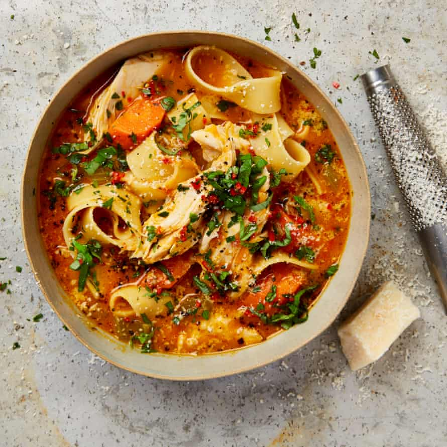Yotam Ottolenghi's chicken and parmesan soup with pappardelle