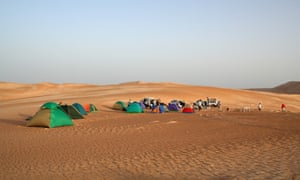 A typical campsite in the Wahiba Sands.