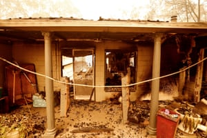 A view of fire damaged property in Sarsfield, Australia