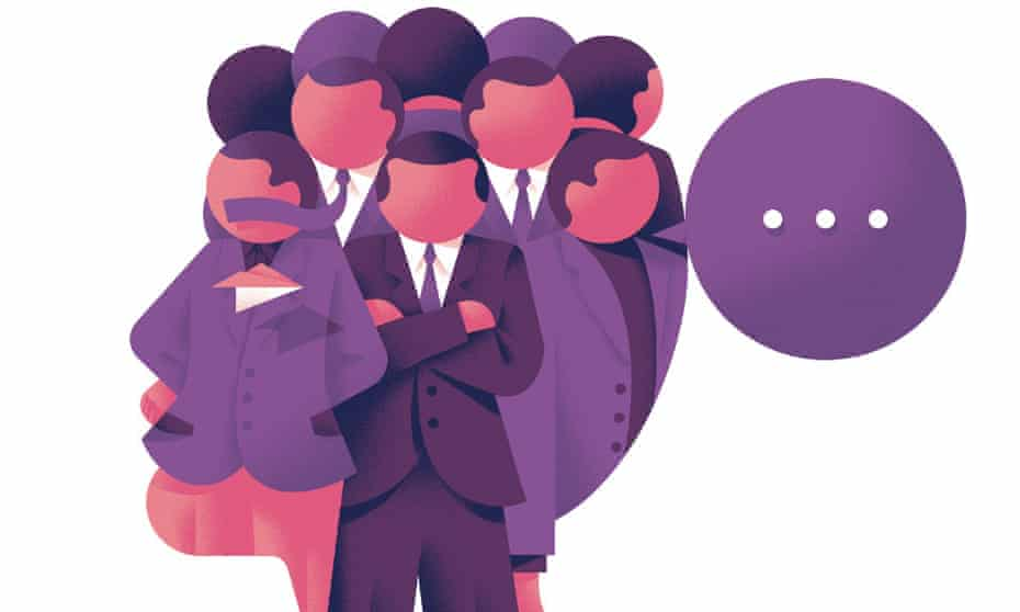 Illustration of group of faceless men with one speech bubble