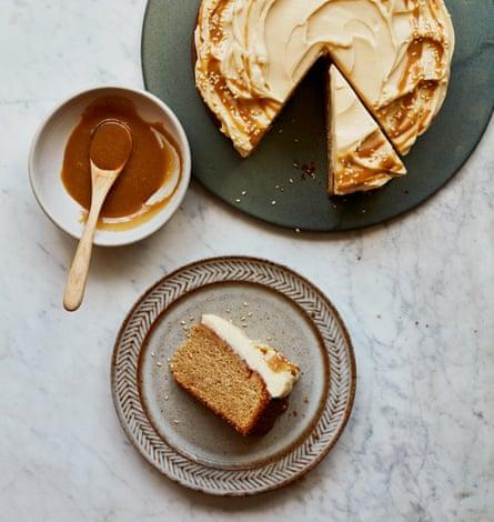 Benjamina Ebuehi's tahini cake with coffee caramel.