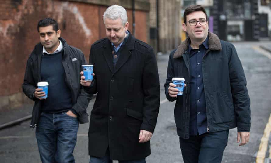 Rishi Shori, left, with Ivan Lewis MP and Andy Burnham, mayor of Greater Manchester.