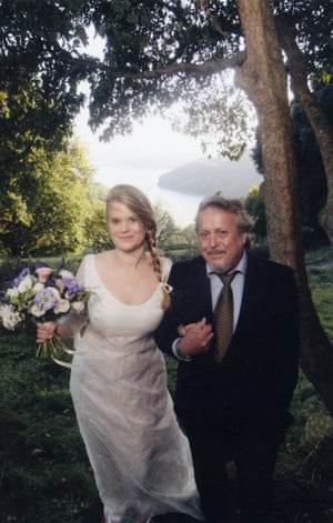 Gavanndra Hodge and her father on her wedding day in Devon.
