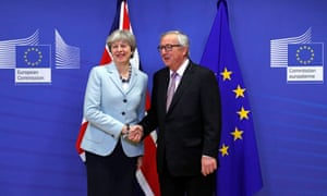 Theresa May, then UK prime minister, with Jean-Claude Juncker, president of the European commission, in 2017.