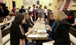 The New York audience tucking into pie and mash