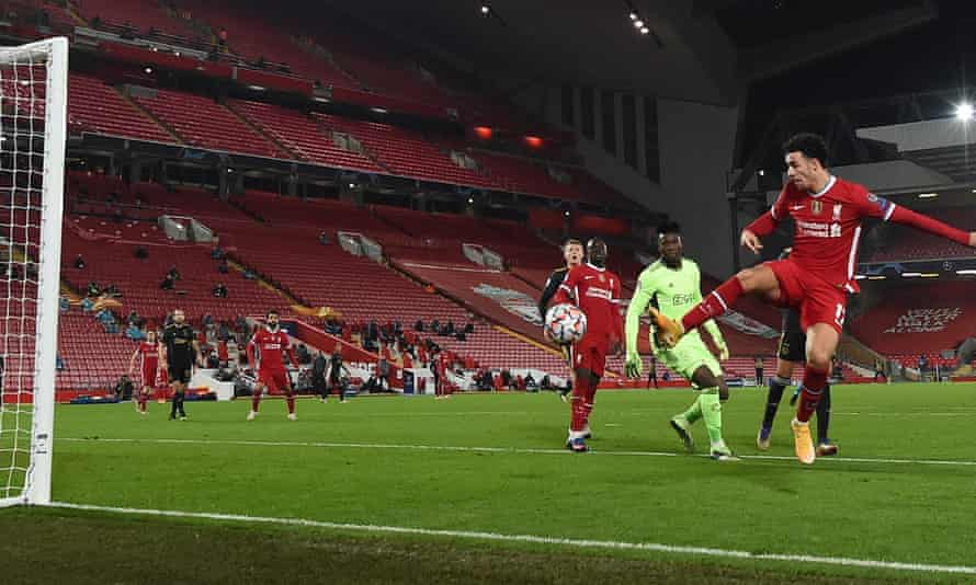Curtis Jones cleverly volleys in Liverpool's winner against Ajax with the outside of his boot to seal Champions League progress for Jürgen Klopp's side.