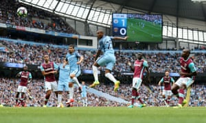 Fernandinho heads home Kevin De Bruyne's free-kick to make it 2-0 to Manchester City.