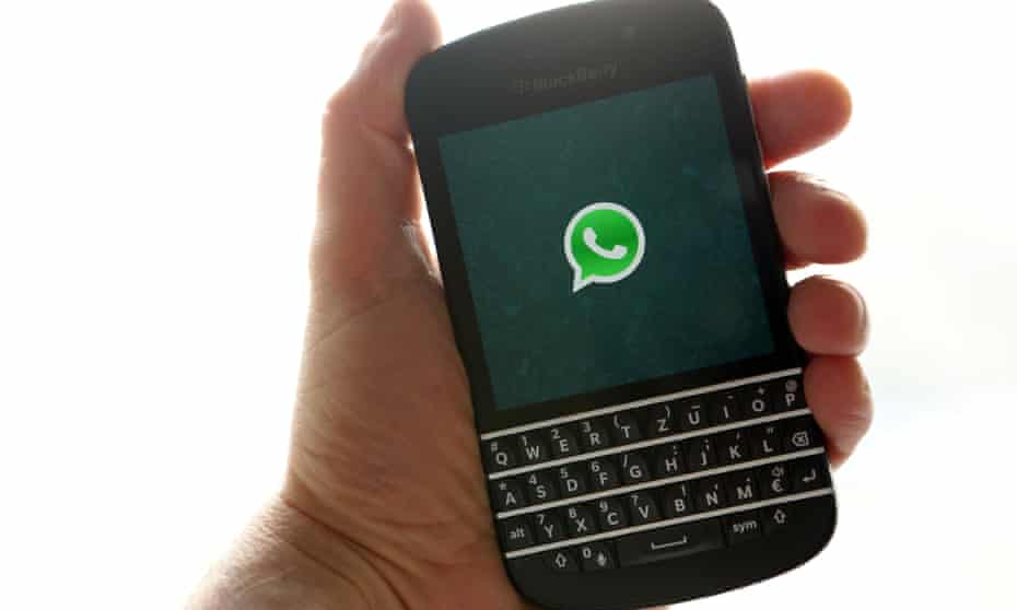 WhatsApp in use on a BlackBerry phone
