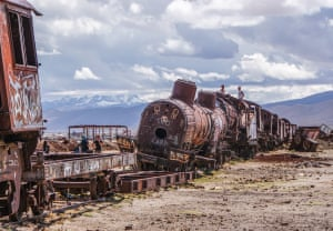 Pamela Jones - Train cemetery, Bolivia. Just outside Uyuni, Bolivia, trains were abandoned decades ago and left to rot at 11,995ft. Built by the British the railway transported minerals to the Pacific Coast until the mining industry collapsed in the 1940's