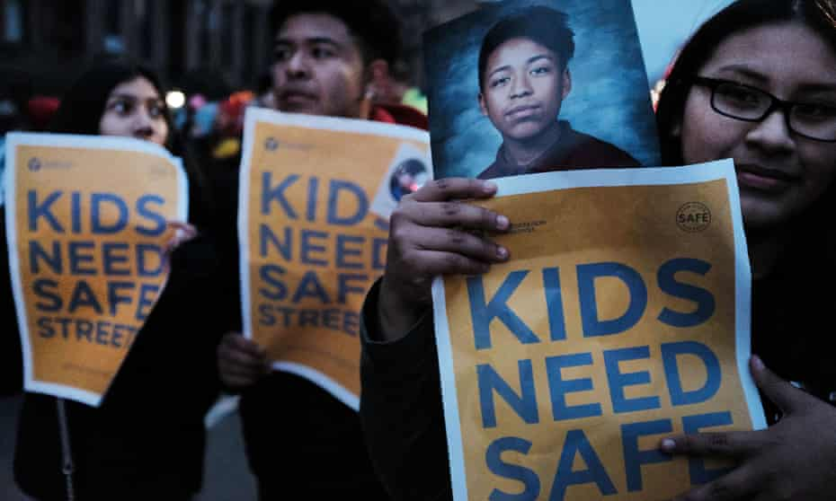 The family of Kevin Flores, who was killed by a car while on his bike, join residents, children, activists and politicians at a March for Safe Streets campaign organized by Transportation Alternatives in Brooklyn, New York .