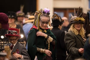Steampunk enthusiasts peruse the trade stalls in Haworth Village Hall as they attend the sixth annual Haworth Steampunk Weekend in Haworth
