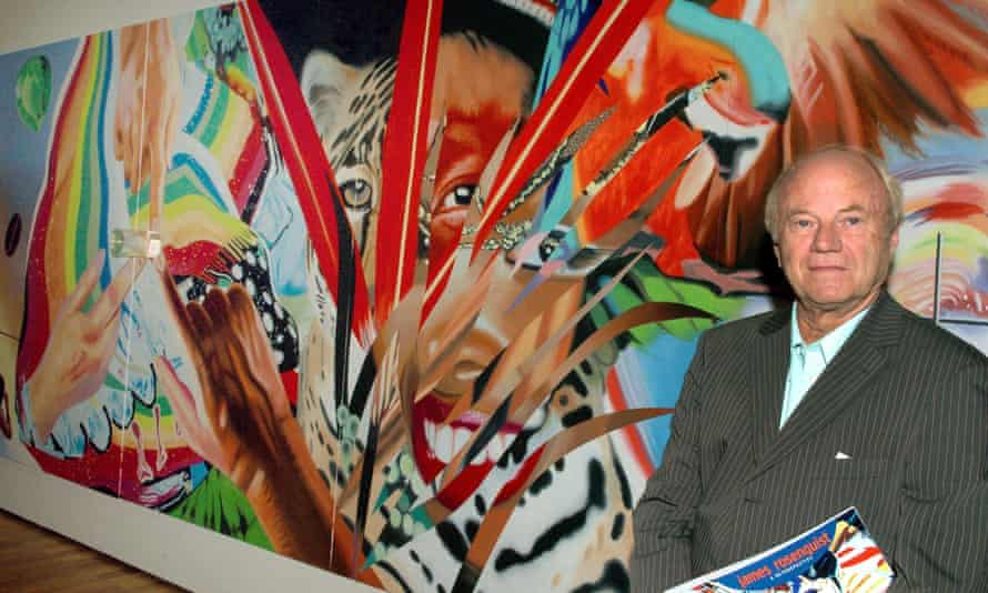James Rosenquist pictured in 2005 with his work Brazil.