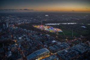 Looking west over Hyde Park and the Serpentine