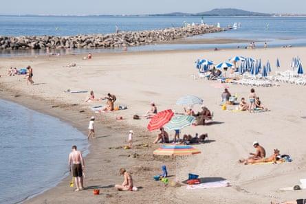 Sete beach, South France in summer,