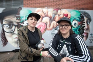 Nomad Clan made up of CBloxx, left, and Aylo, from Manchester. Cbloxx was recently pegged as one of the worlds top 10 female street artists, she has been painting, curating and exhibiting for over 7 years. Known best for her tec portraits and dark twisted characters. Aylo is the owner of Dirty Work urban art shop in central Manchester