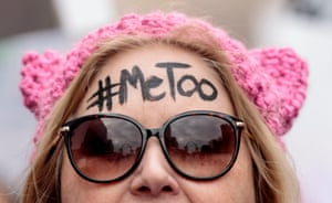 Head shot of protester Diana Schmitt, with MeToo written across her forehead, participates in the Women's March for Truth on January 20, 2018 in St Louis, Missouri, United States.