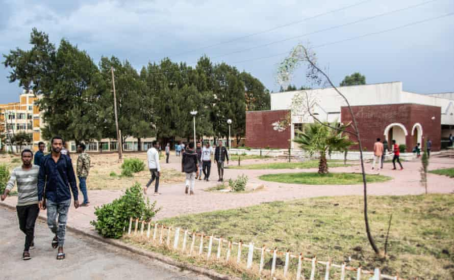 Students on the main campus of Ambo University, where police have been brought in to curb fighting