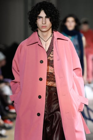 A model on the Acne Studios catwalk.