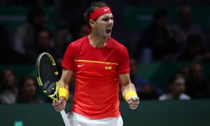Nadal of Spain celebrates winning the first set.