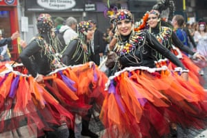 "<strong>London School of Samba</strong><br>Great mood and costumes by London School of Samba<br>Photograph: <a href=""https://witness.theguardian.com/assignment/55deeea5e4b0778f0c23e764/1689626"">Sonis Bonbonis/GuardianWitness</a>"